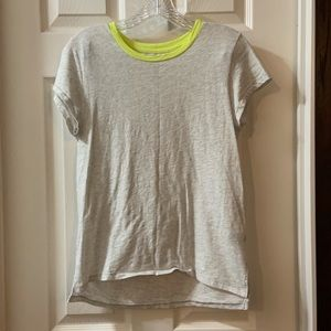 Aerie Grey/Neon Yellow Trim Real Soft Tee Size M